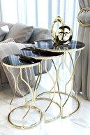 Puklife Kırılmaz Camlı Gold Rüya Model Zigon Sehpa Takımı ( Siyah Mermer Desenli)