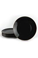 Keramika Siyah Gold Çizgi Servis Tabağı 26 cm 6 Adet