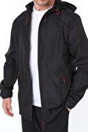 Ghassy Co Erkek Rüzgarlık/yağmurluk Outdoor Omuz Detay Mevsimlik Siyah Spor Ceket