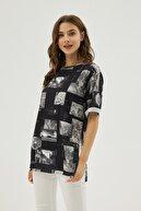 Pattaya Kadın Siyah Gri Baskılı Yırtmaçlı Oversize Kısa Kollu Tişört P21s201-2121