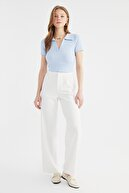 TRENDYOLMİLLA Açık Mavi Polo Yaka Crop Fitilli Örme Bluz TWOSS21BZ0038
