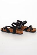 BiDünya Kadın Siyah Çift Tokalı Sandalet
