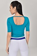 bilcee Mavi Kadın Yoga T-shirt Gs-8105
