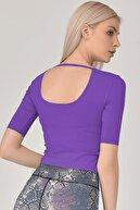 bilcee Kadın Mor Yoga T-shirt Gs-8105