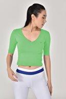 bilcee Kadın Yeşil Yoga T-shırt Gs-8105