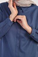 ALLDAY Kadın Koyu Mavi Gizli Patlı Uzun Tunik