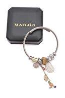 Marjin Kadın Gümüş Renkli Taba Rengi Taşlı Saat Figürlü Charmlı Bilezik