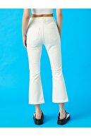 Koton Kadın Beyaz İspanyol Paça Crop Pantolon