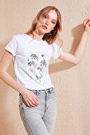 Lela Kadın Beyaz Pamuklu Baskılı Bisiklet Yaka T Shirt 6001021