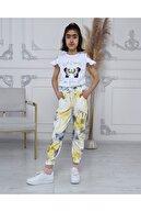 Pomegranate Kız Çocuk Batik  Sarı Desen Angel Nakışlı Eşofman Altı