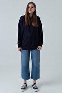 sofia clothes Kadın Lacivert Kapüşonlu Sweatshirt