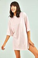 Bianco Lucci Kadın Pembe  Yan Yırtmaçlı Duble Kol Basic Oversize Tshirt