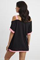 Cool & Sexy Kadın Siyah Tek Omuz Oversize T-Shirt MF586