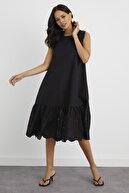 Cool & Sexy Kadın Siyah Fistolu Dokuma Elbise BK1160