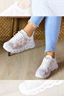 GNY AYAKKABI Kadın Beyaz Dantelli Spor Ayakkabı