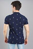 Arlin Erkek Polo Yaka Baskılı Düğmeli Slim Fit Kısa Kollu Indigo T-shirt