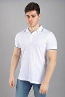 Arlin Erkek Polo Çizgili Yaka Kısa Kollu Slim Fit Düğmeli Beyaz T-shirt