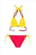 AYYILDIZ Kadın Sarı Kırmızı Üçgen Kesim Bikini Takımı 40700