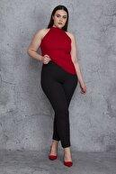 Şans Kadın Siyah Kendinden Çizgili Kumaş Tayt Pantolon 65N24437