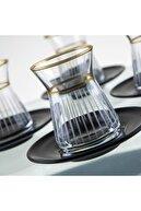 Aymin Kristal 6 Kişilik 12 Parça Özel El Yapimi Çay Seti
