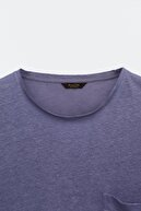 Massimo Dutti Erkek Cep Detaylı %100 Keten T-Shirt 01412279