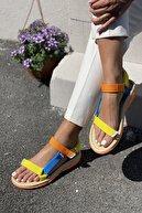 İnan Ayakkabı Kadın Sarı Mavi Turuncu Sandalet