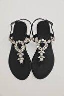 Oblavion Kadın Siyah Hakiki Deri Günlük Taşlı Sandalet