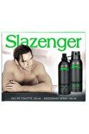 Slazenger Orıjınal Parfüm Edt 125ml + 150ml Erkek Deodorant Yeşil Kofre Set