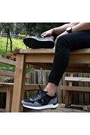 İBAY Strıke Erkek Siyah Gri Hakiki Deri Günlük Ayakkabı