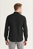 Avva Erkek Siyah Düz Düğmeli Yaka Slim Fit Uzun Kol Vual Gömlek A11b2206