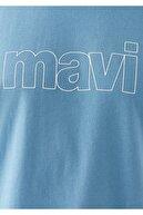 Mavi Logo Baskılı Mavi Tişört