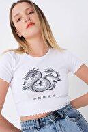 Addax Kadın Beyaz Baskılı T-shirt P1155 - T2