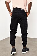 XHAN Siyah Yandan Cepli Jogger Pantolon 1yxe5-44987-02