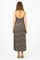 ALEXANDERGARDI Kadın Mor Çiçekli Askılı Uzun Elbise