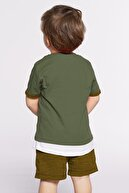zepkids Erkek Çocuk Kırmızı Nakışlı Şortlu Takım 2-5 Yaş