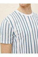 Koton Erkek T-shirt Mavi Çizgili 1yam12020lk