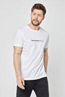 COMEOR Erkek Beyaz Bisiklet Yaka Kısa Kollu Önü Baskılı Basic T-shirt
