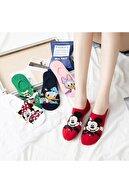 dm del more Kadın 5 Çift Sevimli Karikatür Desenli Renkli Patik Çorapları