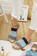 Ekol Ayakkabi Kadın Mavi Lastikli Sandalet