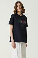Network Kadın Basic Fit Lacivert Baskılı T-shirt 1079952