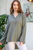 Chiccy Kadın Haki Patı Düğme Detaylı Cepli Kolları Ayarlı Dokuma Bluz M10010200BL95313