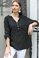 Chiccy Kadın Siyah Patı Düğme Detaylı Cepli Kolları Ayarlı Dokuma Bluz M10010200BL95313