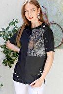Chiccy Kadın Siyah Sıfır Yaka Bloklu Kaplan Baskılı Lazer Kesikli Yıkamalı T-Shirt M10010300TS98216