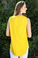 Chiccy Kadın Sarı Sıfır Yaka Papatya Baskılı Düğme Detaylı Kolsuz Dokuma Bluz M10010200BL95325