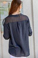 Chiccy Kadın Siyah Sırt Kol Ucu Ve Cebi File Patı Düğme Detaylı Dokuma Bluz M10010200BL95317