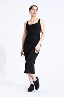 M2K Kadın Siyah  Pamuklu Likra Askılı Kare Yaka Uzun Elbise