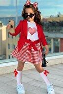 Riccotarz Kız Çocuk Kırmızı Blazer Ceketli Kazayağı Etekli Takım