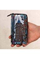 Anı Yüzük Unisex Galata Sonata Cold Blue Baskılı Cep Telefonu Bölmeli Hakiki Deri Cüzdan