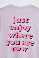Defacto Kız Çocuk Oversize Arkası Slogan Baskılı Kısa Kollu Tişört