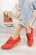 Deripabuc Hakiki Deri Kırmızı Kadın Deri Babet Dp16-0061